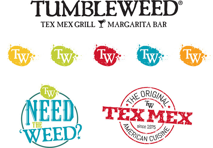 Rebranding elements for Tumbleweed Tex Mex Grill and MArgarita Bar