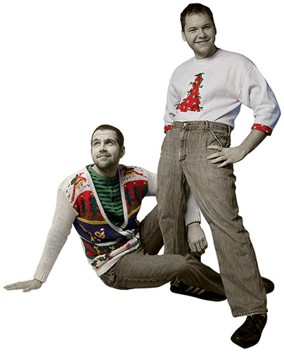 Brandon and Jonathan's holiday sweater picture