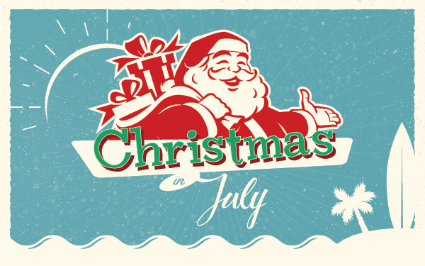 "Illustration of Santa Claus over the headline Christmas in July. This was used in our ""Christmas in July"" blog that traced the history of this event and how it's survived for over 80 years."