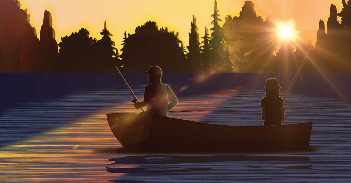 Illustration of a man and a girl fishing in a small boat as the sun streams through the trees. Current360 created an animated video for Nationwide Advisory Solutions that communicated the benefits of Monument Advisor to financial advisors.
