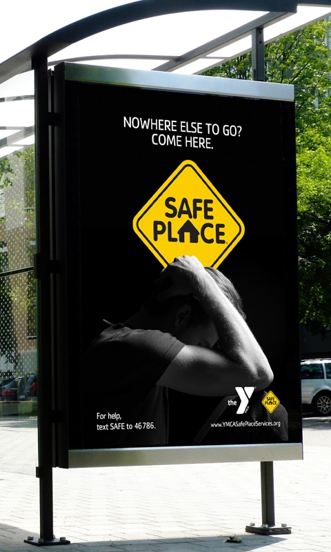 Bus shelter image 4, part of YMCA Safe Place Services Awareness Campaign
