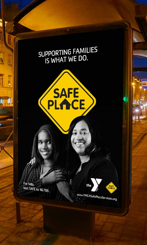 Bus shelter image 2, part of YMCA Safe Place Services Awareness Campaign