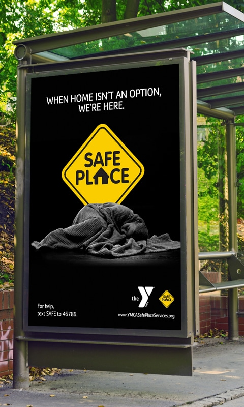 Bus shelter image 3, part of YMCA Safe Place Services Awareness Campaign