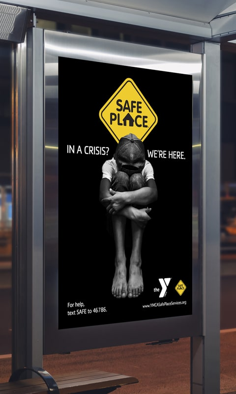 Bus shelter image, part of YMCA Safe Place Services Awareness Campaign