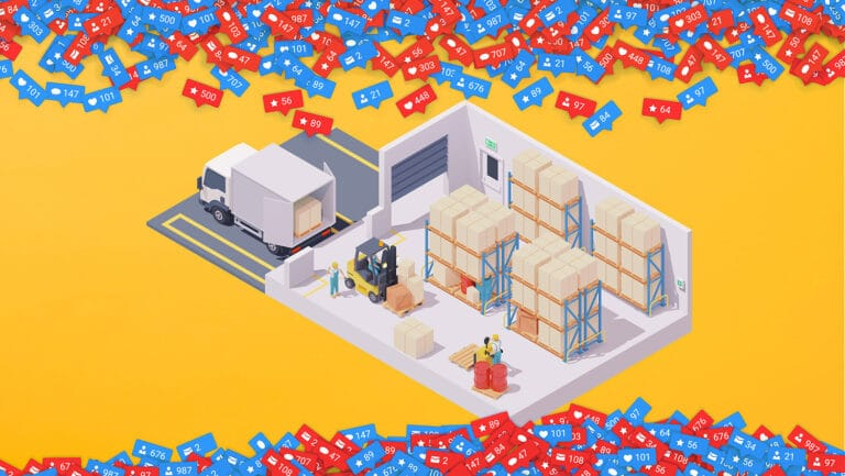 Illustration of merchandise being loaded onto a truck with social media like buttons above and below. This was part of a blog Current360 created about getting B2B results on social media.